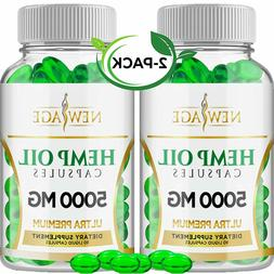 2-Pack New Age 5000mg Hemp Oil Capsules Pain Stress Anxiety