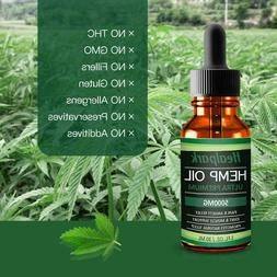 Hemp Oil 5000mg for Pain Relief Anxiety - 100% Natural Orga