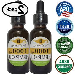 2Pack Organic 1000mg Hemp Oil for Dogs Cats 100% Pure Stress
