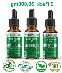 3 Pack Hemp Oil Drops For Pain Relief, Stress , Anxiety, Sle
