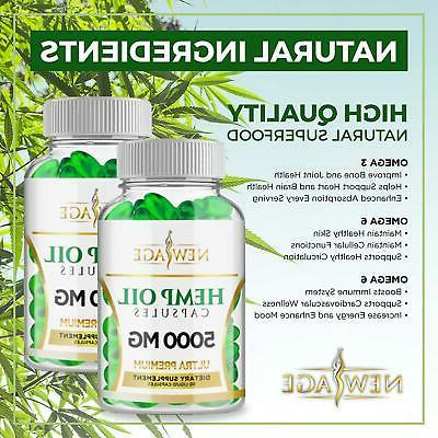 Premium Natural Hemp Capsules 5000 MG Anxiety & Relief Pack Restful