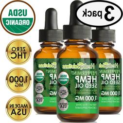 Peppermint Hemp Oil Drops for Pain Relief, Stress, Anxiety,