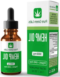 Pure Green Labs - 3000mg - Hemp Oil - Relief from pain, stre